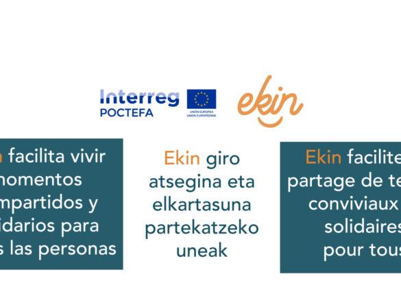 Portada con el título de la reflexión recogida en el video y los logos de EKIN y POCTEFA.